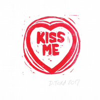 A Valentine's Day 'Kiss Me' Original Hand Pulled Lino Print.