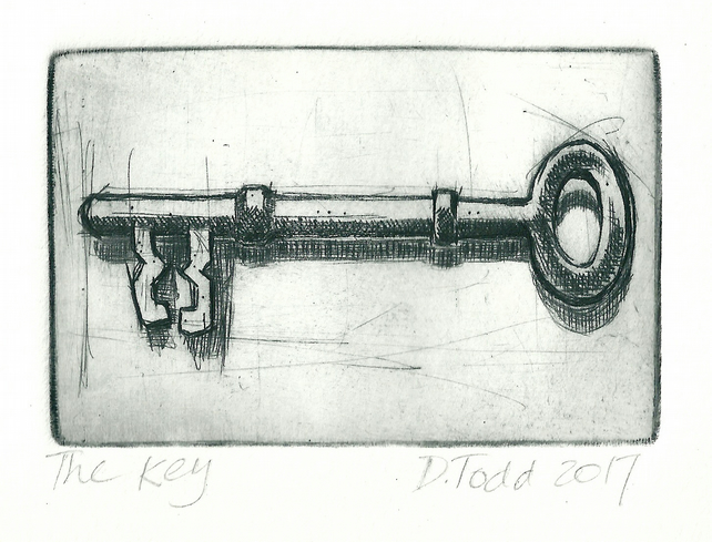 Original Drypoint Hand-pulled Print. 'The Key' (To my heart perhaps...