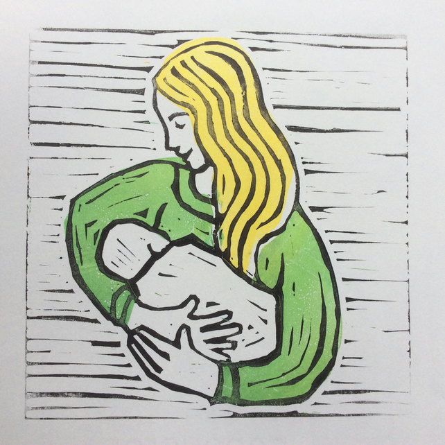 'Mother Love'  Lino Print