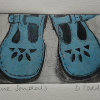 'Sandals' Limited Edition Chine Colle Original Hand Pulled Print by Debbie Todd