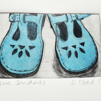 'Sandals' Chine Colle Original Hand Pulled Print by Debbie Todd