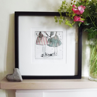 'Best Friends' Chine Colle Original Hand Pulled Print by Debbie Todd