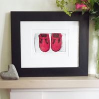 'Little Red Shoes' Chine Colle Original Hand Pulled Print by Debbie Todd