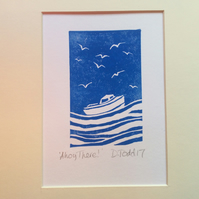 'Ahoy There!' Lino Print