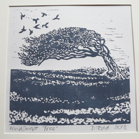 'Windswept Tree' Lino Print