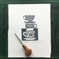 'Coffee Break!' Lino Print