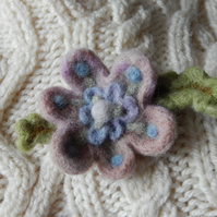 pink & blue blossom brooch - needle felted