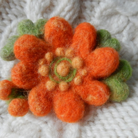 orange buddy blossom brooch - needle felted