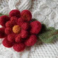 red double blossom brooch - needle felted