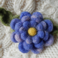 triple purple blossom brooch - needle felted