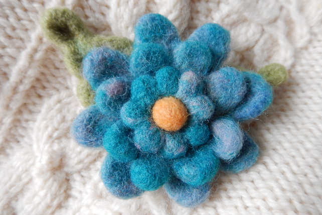 triple turquoise blossom brooch - needle felted