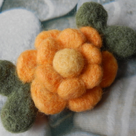 double yellow blossom brooch - needle felted