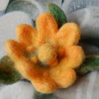 yellow eight petals brooch - needle felted