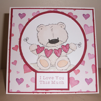 Cute bear love card - anniversary or valentine - now reduced