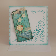 Handcrafted mixed media tag birthday card