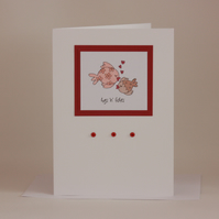 Fishy love card - anniversary card or valentine - now reduced
