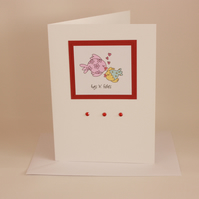 Fishy love card - anniversary card or valentine