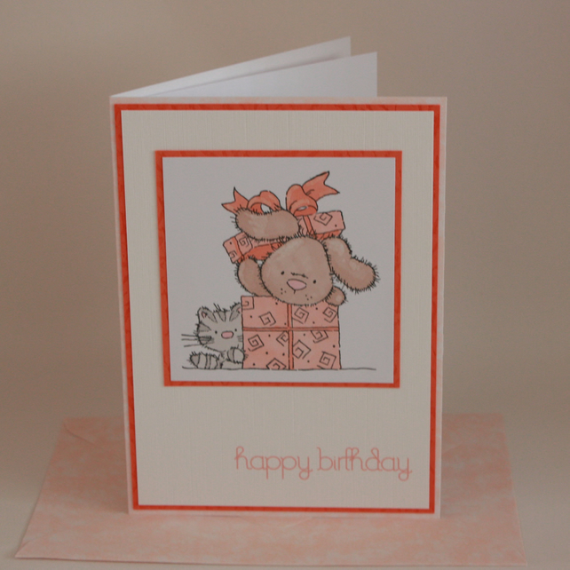 Cat and Dog Birthday card