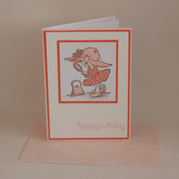 Pretty girl happy birthday card