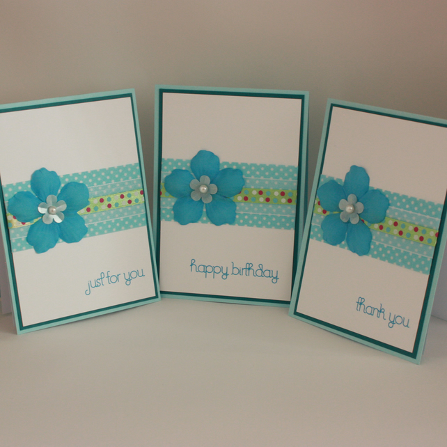 Pack of 3 handcrafted greetings cards