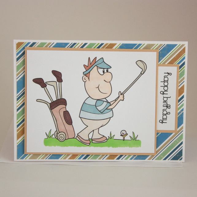 Male birthday card - golf - now reduced