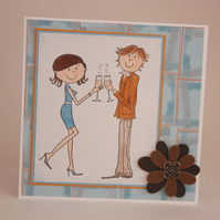 Handmade Engagement or Anniversary card - celebrating couple