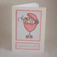 New baby girl card - now reduced
