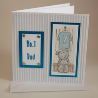 Blue Football Ted Father's Day card