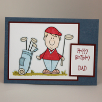 Handmade Happy Birthday Dad card - golfer