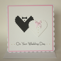 Bride and Groom Hearts Wedding Card