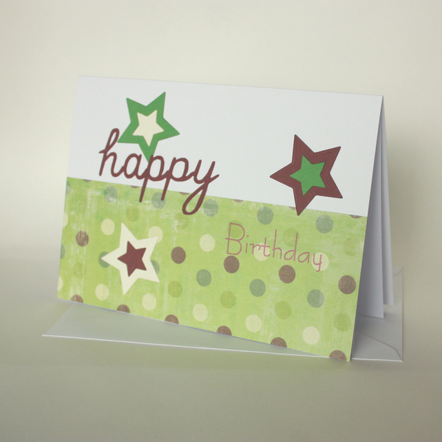 Spots and stars birthday card