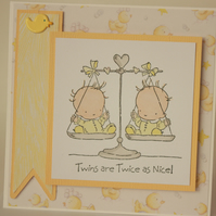Handmade twin babies card