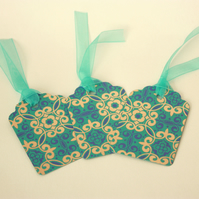 Pack of 3 turquoise and gold gift tags