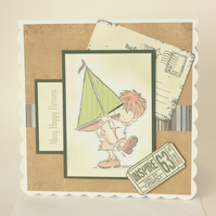 Little boy with boat birthday card