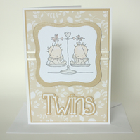 Neutral twin babies card