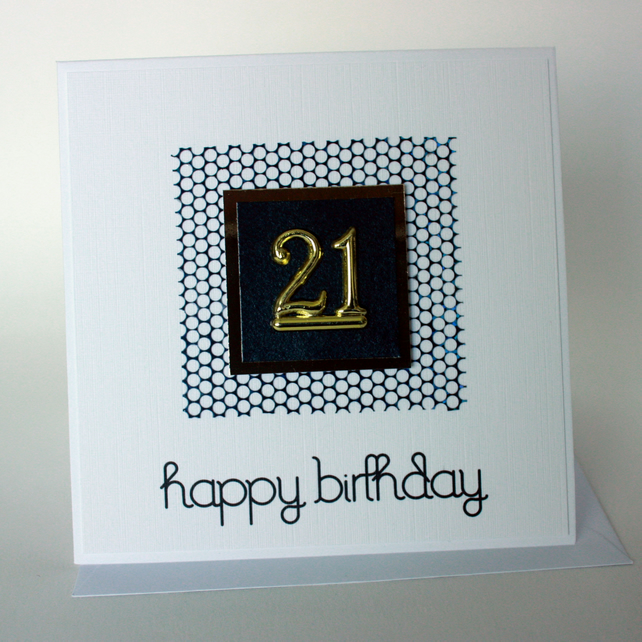 Black and gold 21st Birthday card