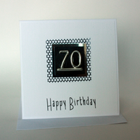 Black and silver 70th Birthday card