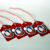 Santa and Rudolph Christmas gift tags