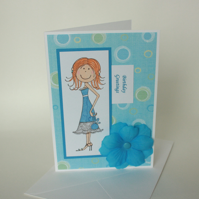 Pretty girl birthday card - now reduced