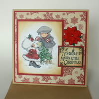 Handmade cute couple Christmas card