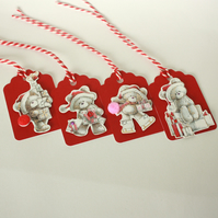 Cute Christmas teddies gift tags