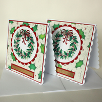 Handmade pack of 2 holly wreath Christmas cards