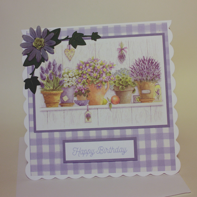 Pretty flower pots birthday card