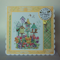 Cottage garden bird houses new home card