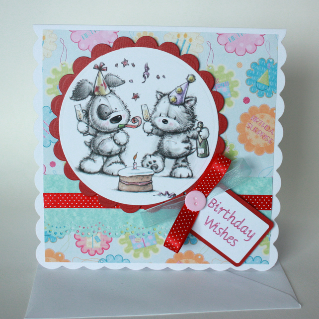 Cute dog and cat birthday card
