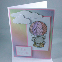 Bon Voyage hot air ballooning bear card