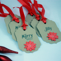 'Be Merry and Bright' and 'Be Jolly' handmade poinsettia Christmas gift tags