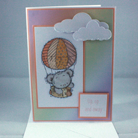 Up, up and away hot air ballooning bear card