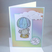 Any occasion greetings card - hot air balloon teddy bear