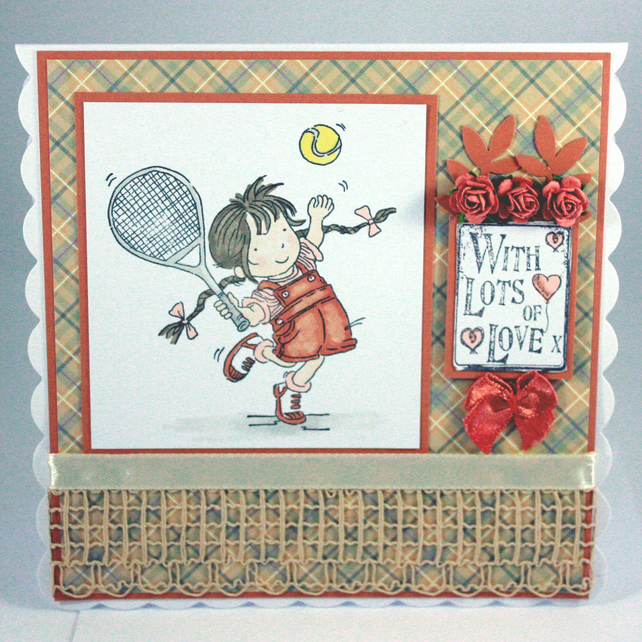 Any occasion greetings card - tennis playing girl